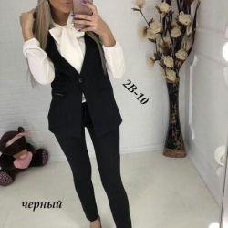 Suit 2 new, black 44 size