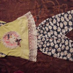 T-shirt and breeches bony kids 74 cm