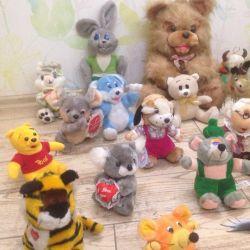 30 мягких игрушек, мишки, собаки, кошки, зайцы