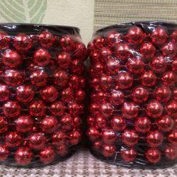 Christmas tree beads red