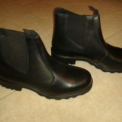 Μπότες Chrome / Δερμάτινες χαμηλές μπότες νέο 40, 42, 43