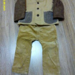 suit (trousers and jacket) from a small ribbed corduroy