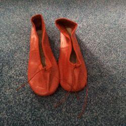Туфли (балетки) для танцев кожаные Chacott красные