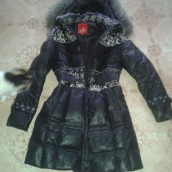 down jacket (down-feather) with a hood with fox fur