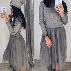 Γκρι φόρεμα γυναικών με skirtin