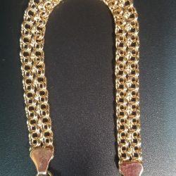 Золотой браслет бисмарк в два ряда