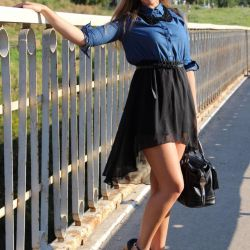 Jeans dress with train