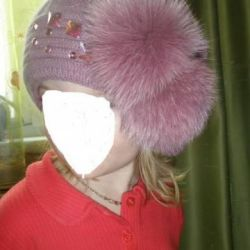 Pink hat with pompons