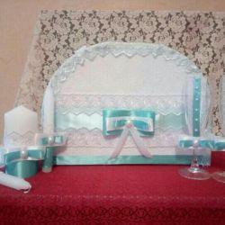 Свадебный набор новый в мятном цвете