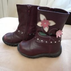 Winter children's leather boots