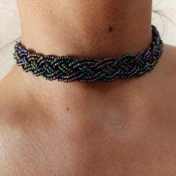 Handmade beaded necklace braid