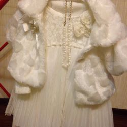 Festive dress with a fur coat for girls 2-3 years