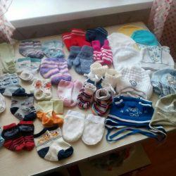 Baby socks, hats.