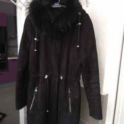 Female sheepskin coat - park.
