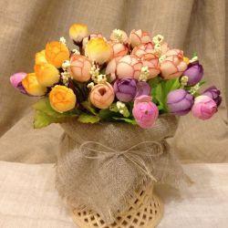 Artificial flowers, vase of flowers, interior.