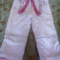 Trousers with suspenders for girls 5-6 years