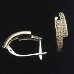 Cercei din aur alb 585 cu diamante