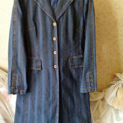 Пальто джинс.Р-р 48-50.