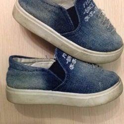 Denim slip-on sneakers