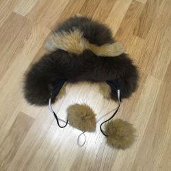 Çocuklar için kış kürk şapka