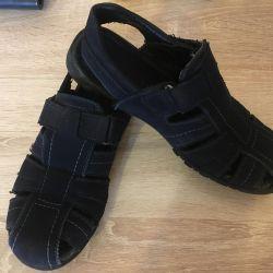 Sandals on the boy's suit. The Nubuck.