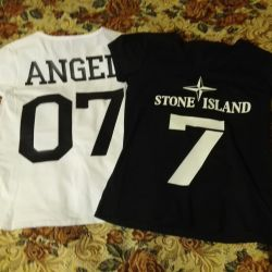 T-shirt with logo, name, number. Cotton