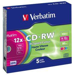 Οπτικό δίσκο CD-RW VERBATIM 700MB 12x, 5 τεμ.