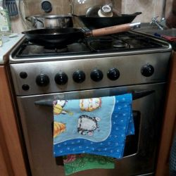 Gas cooker, stainless steel.