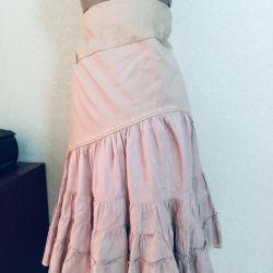 Textured linen and cotton skirt