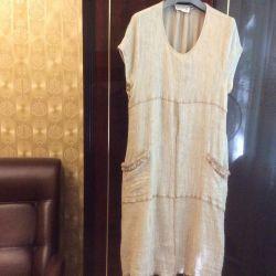 Женское льняное платье на подкладке (торг)