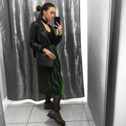 Φούστα πλεγμένο πράσινο με lurex μακρύ