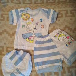 Κοστούμι 3-ka στο μωρό (μέγεθος-74) (νέο)