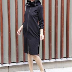 Designer dress-raincoat with a zipper with a hood