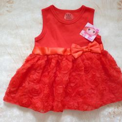 Dress festive red cotton New