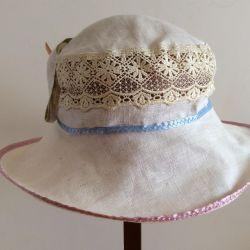 Чудесная шляпка,100% лeн, арт 023, размер 57-58