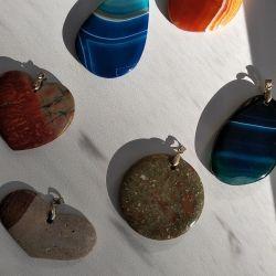 Pendants - pendants made of natural stone.