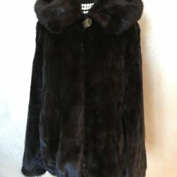 Mink coat with a hood 46-50