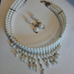 Set white pearl, earrings + necklace