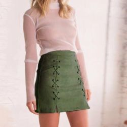 Skirt mini suede