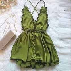 New green satin jumpsuit