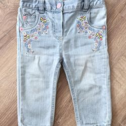 Jeans with Embroidery Mothercare, size 6-9 months.