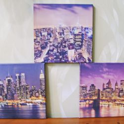 A set of three modular style paintings