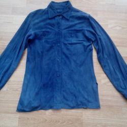 Stylish, women's shirt made from natural suede