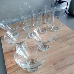 Set of glasses and bowls