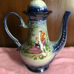 Porcelain jug with a pattern.