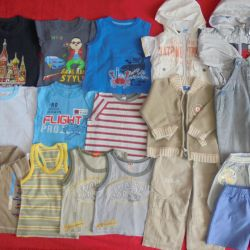 A package of summer clothes for growth from 74 to 86cm.