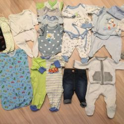 Baby things, a package of things for a boy 0-3 months