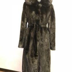 Mink coat with hood 46-48