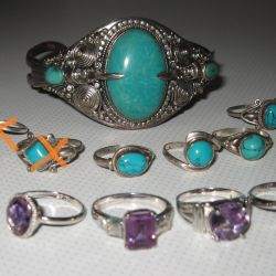 silver turquoise amethyst