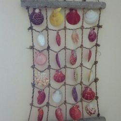 Decorative panel of seashells